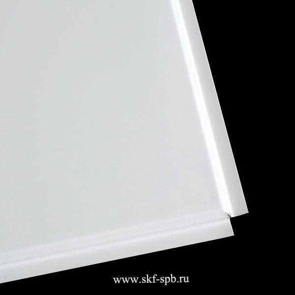 Кассета Албес 595x595 белая стальная tegular 45° Zn